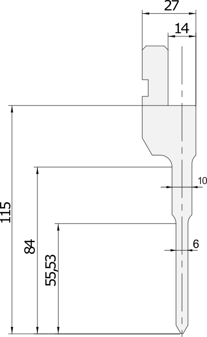 Allgemeiner Stempel (Oberwerkzeuge) Promecam für Abkantpresse PGP-014 6008